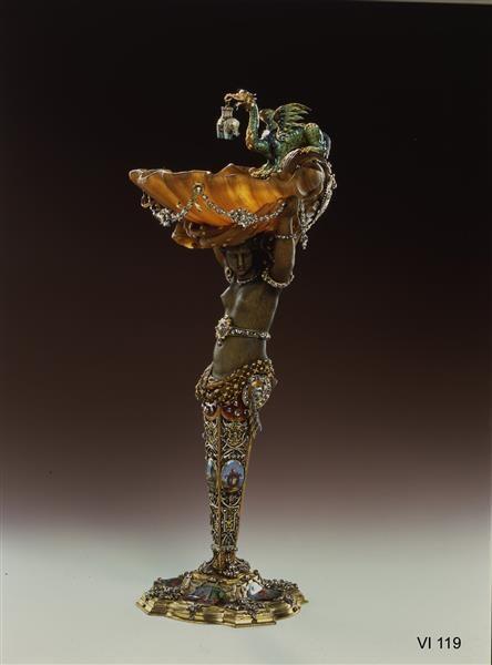 Cup with the Ethiopian -  Dinglinger, Johann Melchior (1664-1731) | goldsmith.  Rhinoceros horn, gold, silver, enamel, diamonds, pearl baroque.