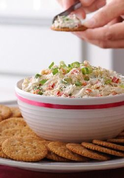 Creamy Crab and Red Pepper Spread – Sweet, tender lump crabmeat in a creamy spread with green onions and red peppers makes for an upscale appetizer spread.