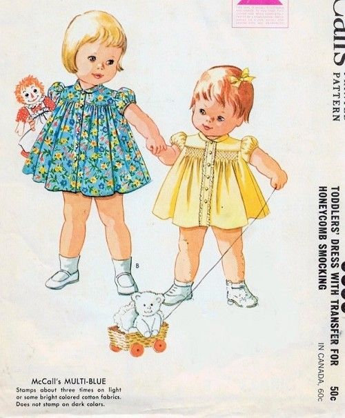 1960s Adorable Toddlers Little Girls Smocked Dress Pattern Sweet Style With Smocking Transfer McCalls 6899 Vintage Sewing Pattern Size 3 Uncut FACTORY FOLDED
