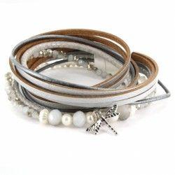 Bracelet multi tours gris et blanc nacré