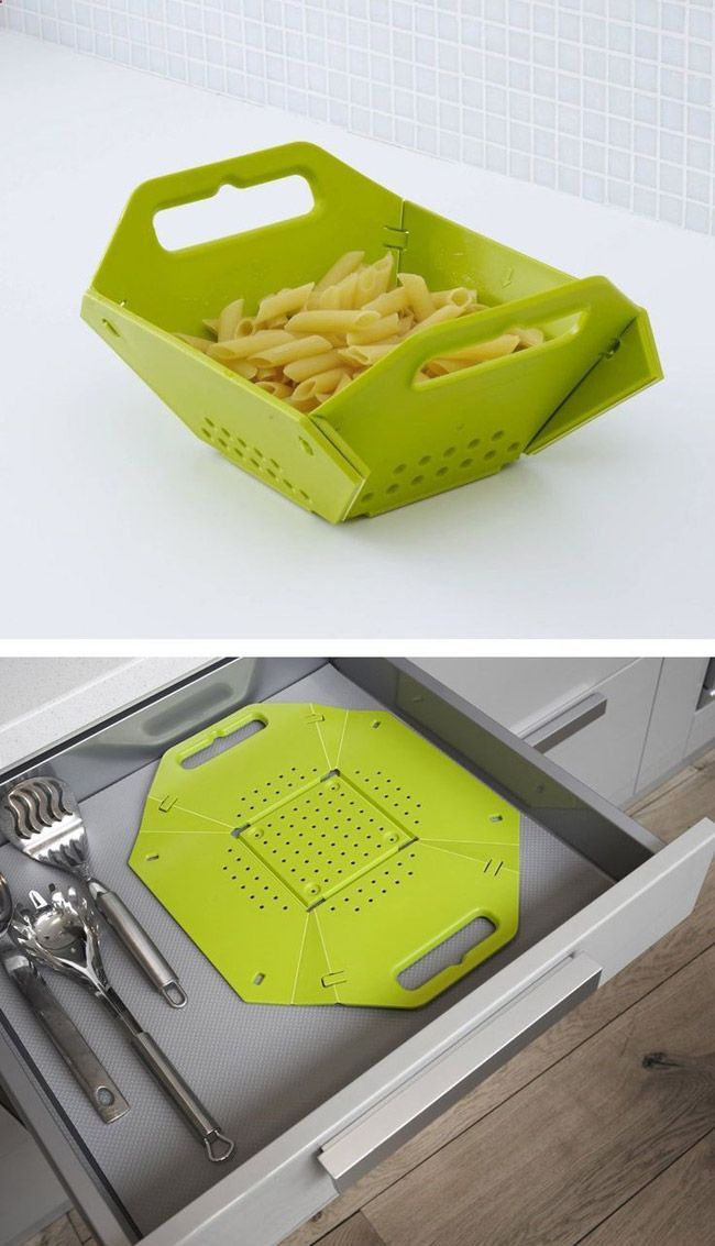 This collapsible colander is pretty cool. It takes up very little of your valuable storage space. | Tiny Homes
