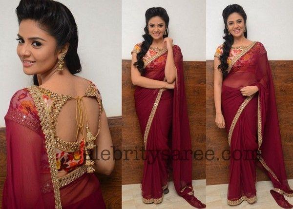 Shree Mukhi Maroon Saree - Saree Blouse Patterns