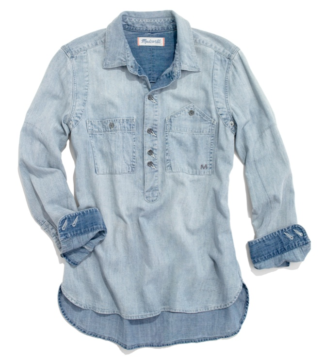 #Madewell Rivet & Thread Chambray Popover: Puffy Skirt, Denim Blouses, Jean Shirts, Every Girls, Jeans Shirts, Newest Shirts, Chambray Shirts, Denim Shirts, Outfits Ideas