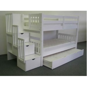 Stairway Bunk Bed Twin over Twin in White with 3 Drawers Built in to the Steps and a Twin Trundle