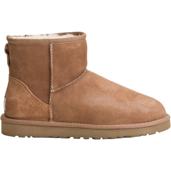 UGG Australia® Ugg classic mini boot ($135) ❤ liked on Polyvore featuring shoes, boots, ankle booties, uggs, ankle boots, pull on boots, sheepskin boots, sheepskin lined boots, low boots and slip on boots