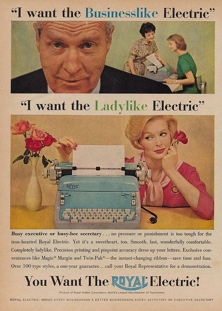 This vintage ads reflect the 50s stiffness of gender roles. It is almost shocking! Brought to you by Shoplet.com - everything for your business.