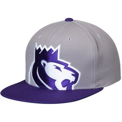 Men's Mitchell & Ness Gray/Purple Sacramento Kings Cropped XL Logo Adjustable Snapback Hat