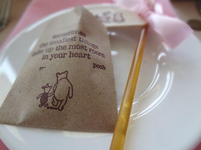 Printed favor bag via Catch My Party: Shower Ideas, Catch My Party, Shower Baby, Winnie The Pooh, Acre Wood, Party Ideas, Pooh Baby, Baby Shower