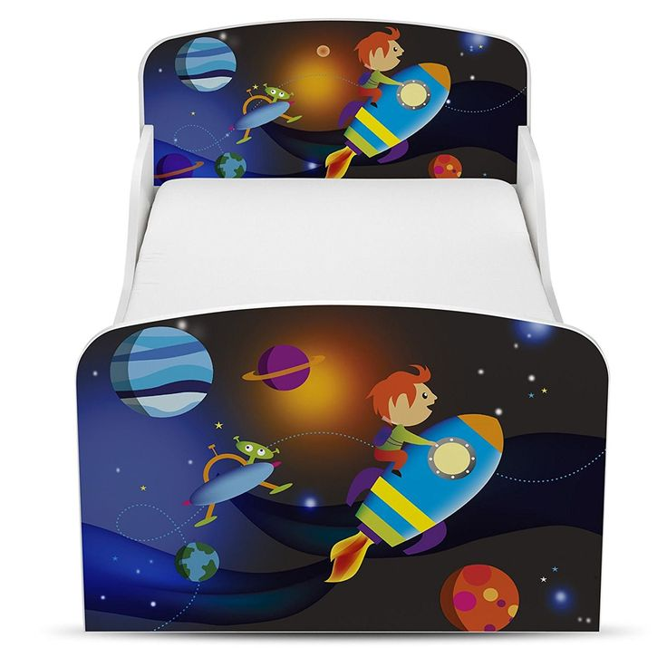 Weltraum kleinkind bett mit bettkasten und rausfallschutz kinderbett mit raketen und planeten kinderzimmer