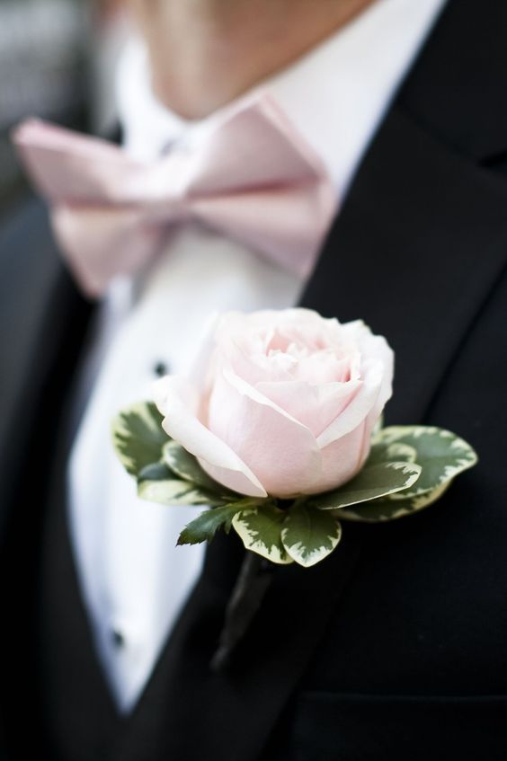 wedding boutonniere; Laurel McConnell Photography Black suit with blush pink bow tie and flower: