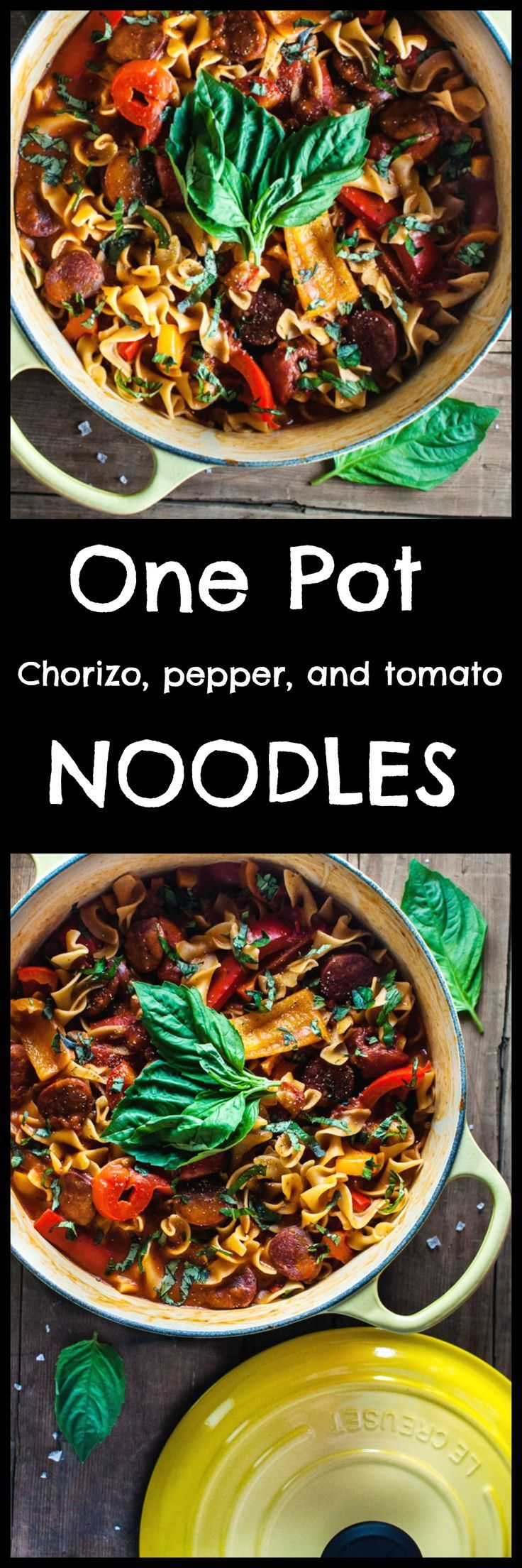 This one pot chorizo, bell pepper, and tomato noodles recipe is quick, healthy, and delicious. One pot = easy clean-up on a busy weeknight. The smoky chorizo makes the sauce taste amazing. Pin for later :)