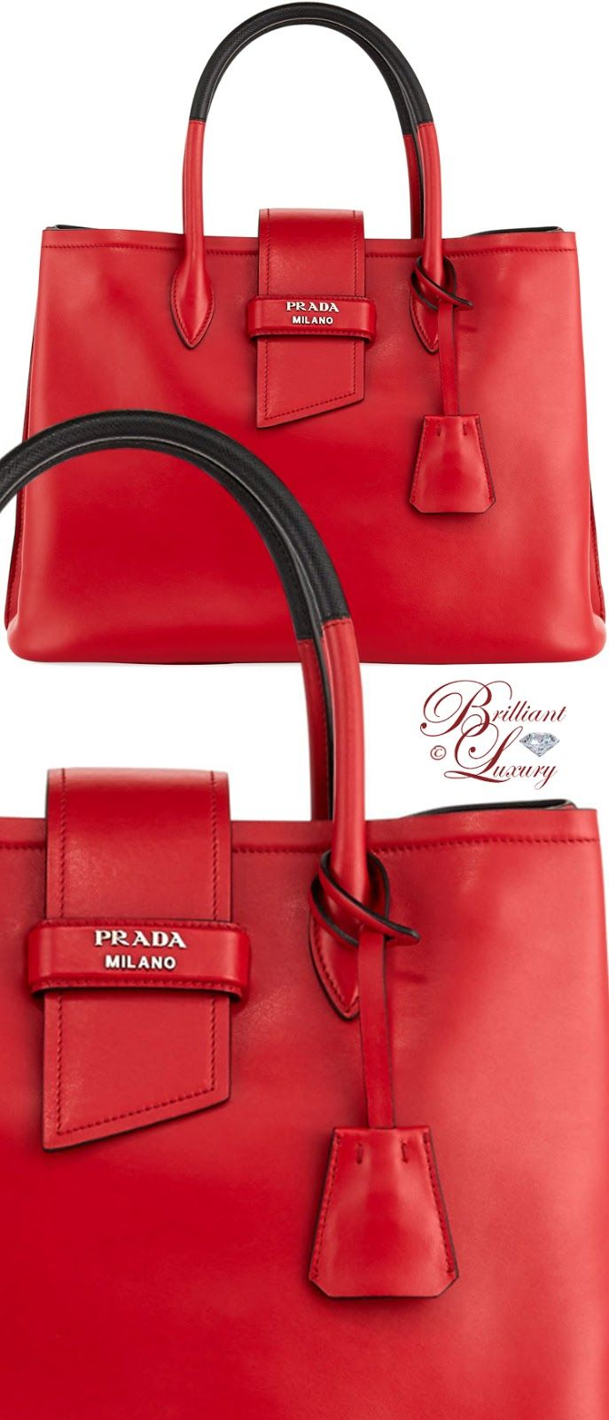 Brilliant Luxury ♦ Prada Ribbon Buckle Soft Calf Tote Bag