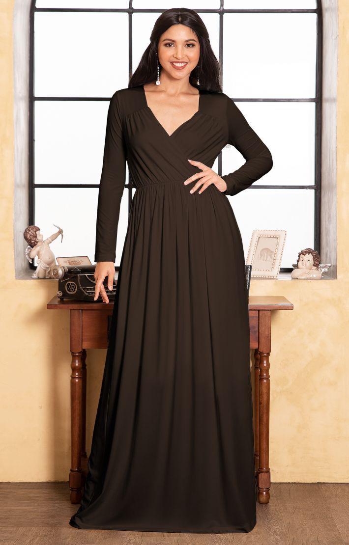 Skylar Long Sleeve Empire Waist Modest Fall Flowy Maxi Dress Gown Maxi Dress Long Sleeve Cocktail Dress Dresses [ 1110 x 710 Pixel ]
