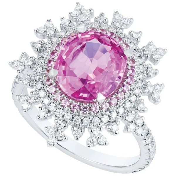 Preowned Nadine Aysoy Tsarina Pink Sapphire Diamond Gold Engagement... ($9,056) ❤ liked on Polyvore featuring jewelry, rings, engagement rings, pink, diamond cocktail rings, pre owned engagement rings, gold diamond rings and pink sapphire engagement rings