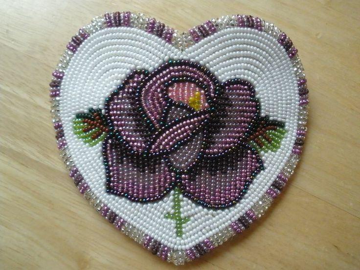 MUSEUM QUALITY!  ESTATE Native American Indian beaded PURPLE ROSE HEART barrette