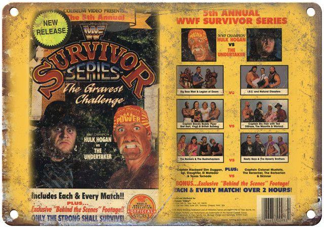 "Survivor Series Hulk Hogan WWF VHS Cover 10"" x 7"" Reproduction Metal Sign"