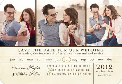 Save the Date Magnets Chic Calendar - Front : Eggshell