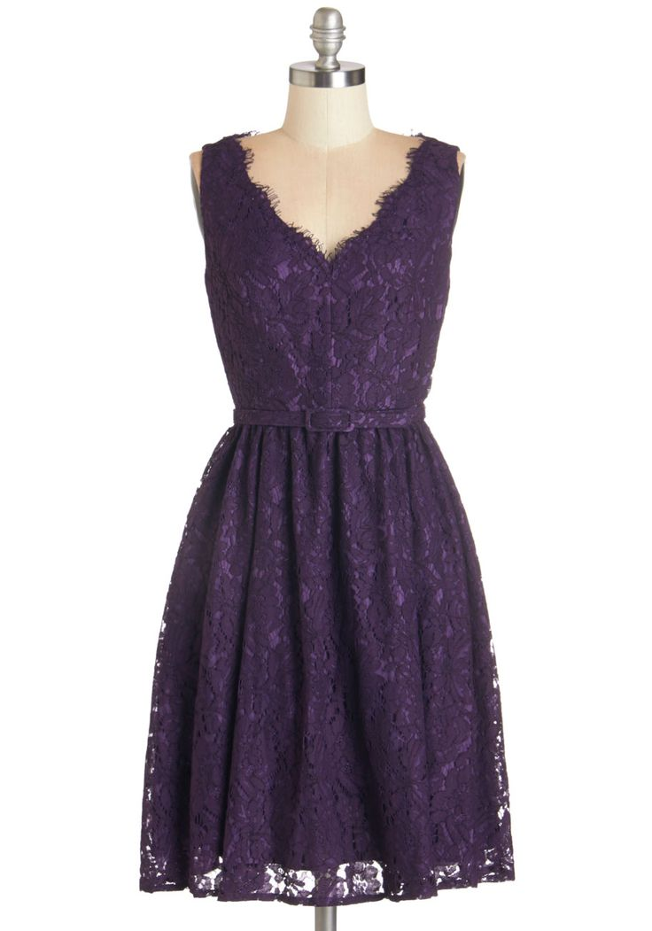 Fun, funky, and altogether fab, this lace dress adds glamour to your day. #purple
