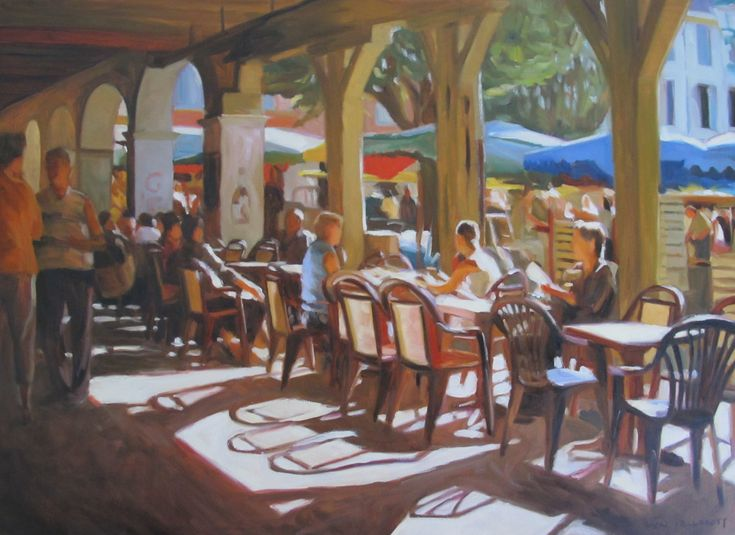 Italian Cafe Paintings | French Cafe Painting 2