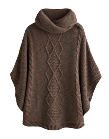 Joules Womens Knitted Cape, Brown Marl.                     Combat the cold and stay as cosy as can be with this throw-over-anything poncho that features a cable knit detail.  This easy-to-wear knit has a shawl collar to keep draughts away from the neck too.