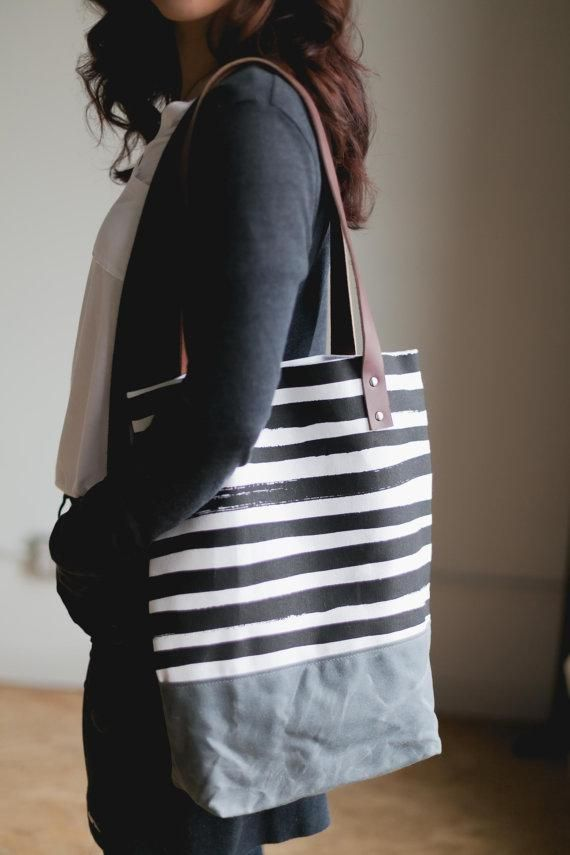 Hand-painted lines give classic black-and-white stripes a good shake-up.  #etsyfinds
