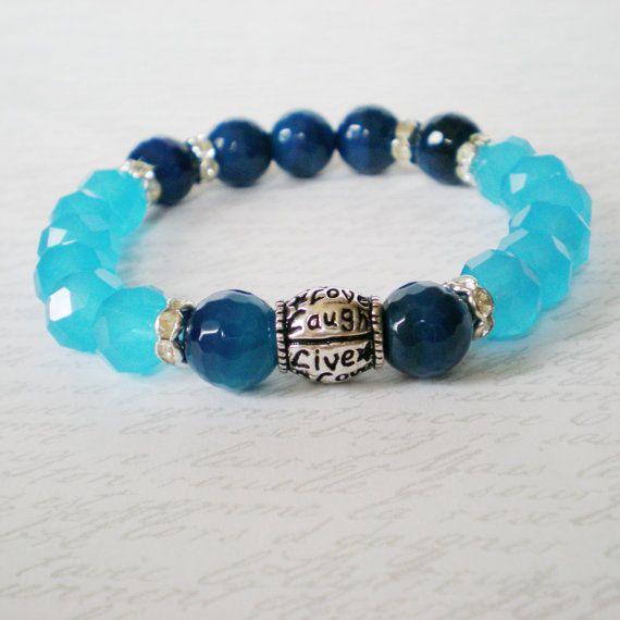 bohemian stretch bracelet blue agate gemstone by jcudesigns
