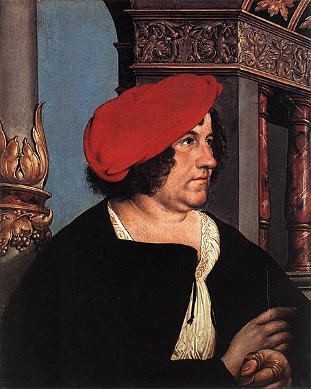 Hans Holbein the Younger- Jacob Meyer+Dorothea Meyer, nee Kannengiesser: 1516- businessman and Burgomaster of Basel, he was elected to the office on June 24, 1516. In 1521, he was impeached for a larger bribe from the French than was permitted, imprisoned when he protested at this treatment and barred from office thereafter. He remained a Catholic after the city's secession to the reformed religion and led the Catholic party in the city. Dorothea Kannengiesser was the second wife of Jacob…