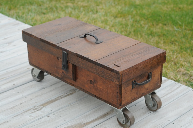 Vintage Repurposed Carpenters Box Coffee Table Wood Carpenters Toolbox Wheels Vintage Toolbox