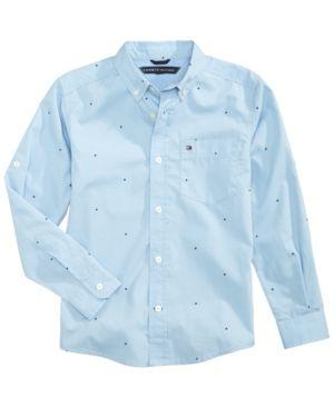 Tommy Hilfiger Mirco-Print Cotton Shirt, Toddler Boys (2T-5T) - Blue 2T