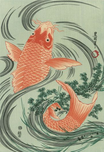 The Gold Carp (higoi) / Utagawa Toyokuni (Japanese Ukiyo-e Printmaker, ca.1769 - 1825). He was one of the heads of the renowned Utagawa school of Japanese woodblock artists, and was the person who really moved it to the position of great fame and power it occupied for the rest of the nineteenth century.