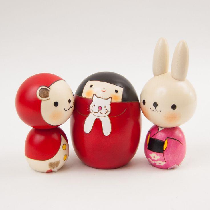 Wood Kokeshi Doll Bunny's Pink Kimono