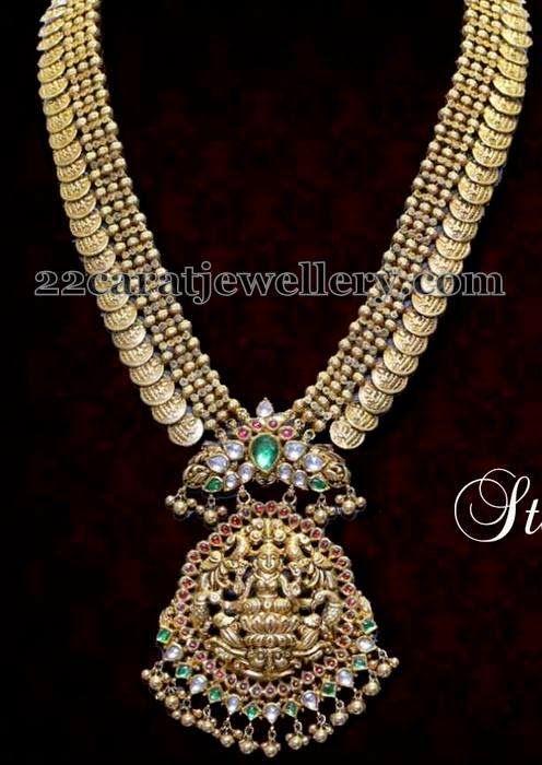 Jewellery Designs: Kasu Haram in Temple Patterned