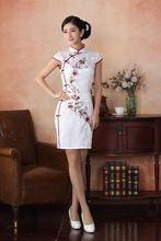 witte lange vrouwen zijde cheongsam qipao chinese traditie bloem avondjurk formele kleding productie(China (Mainland))