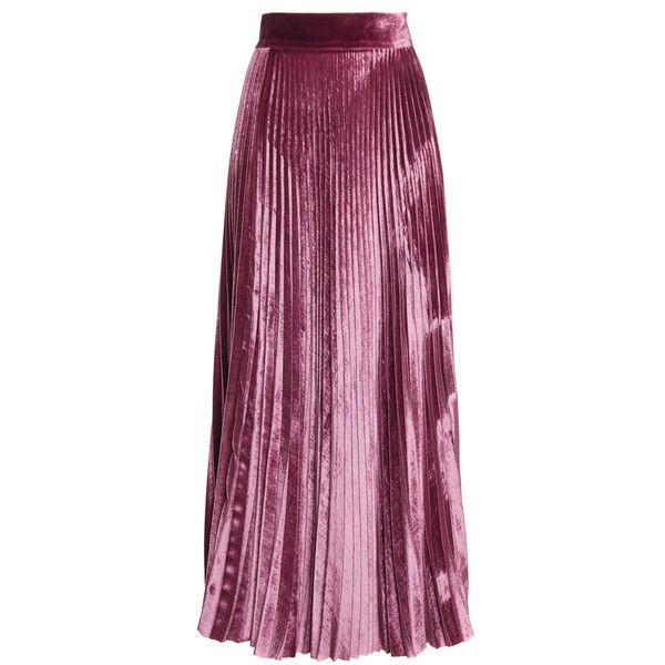 Luisa Beccaria     Velvet Pleated Skirt found on Polyvore featuring skirts, bottoms, pink, pink pleated skirt, pink high waisted skirt, knee length pleated skirt, high-waisted flared skirts and high waisted flare skirt
