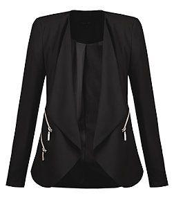 Black Zip Waterfall Blazer | New Look