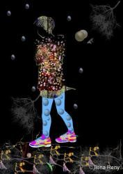 child walking in dark black colorful  illustration Ilona Reny