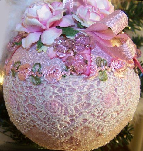 Shabby chic Pink Christmas ornament