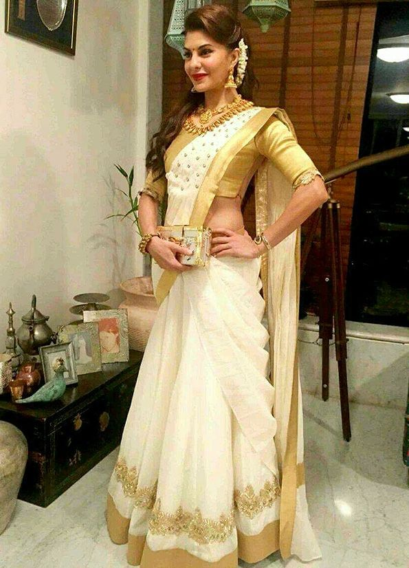jacqueline inspired White and Gold Embroidered Saree