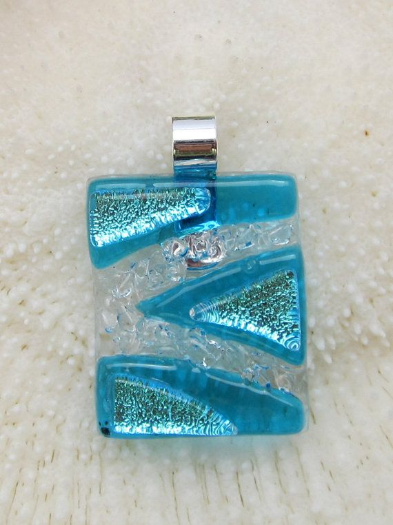 Fused glass pendant, fused glass jewelry, art glass - Blue-silver textured pendant