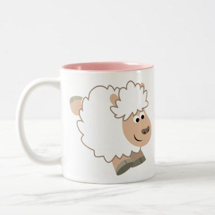#Cute Running Cartoon Sheep Two-Tone Coffee Mug - #office #gifts #giftideas #business