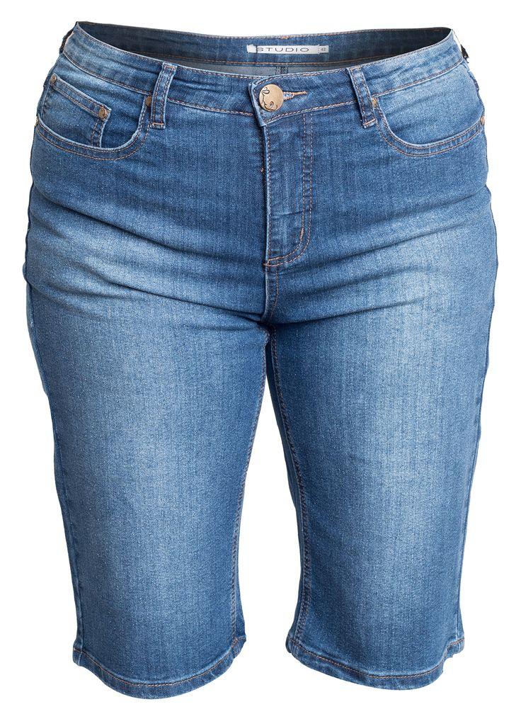 Cool Denim shorts i store størrelser med justerbar elastik i taljen Studio Modetøj til Damer til enhver anledning