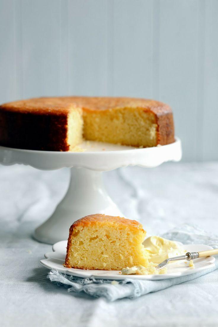 Lemon cake with mascarpone and lemon syrup.