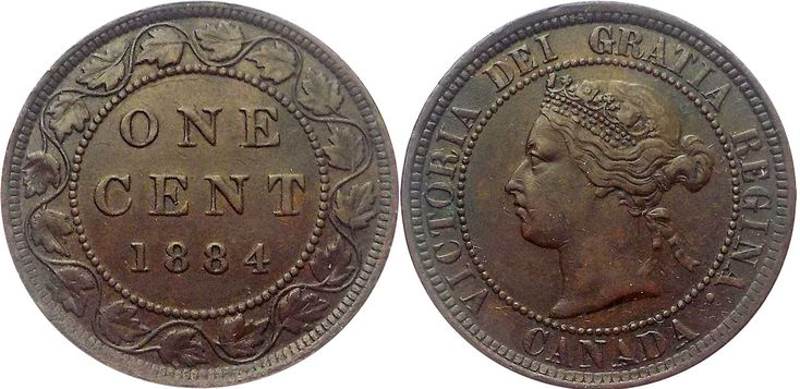 CANADA   1884 one cent coin
