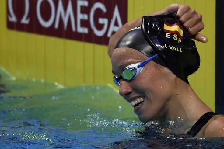 Spain's Jessica Vall reacts after competing in the women's 100m breaststroke semi-final during the swimming competition at the 2017 FINA World Championships in Budapest, on July 24, 2017.  / AFP PHOTO / CHRISTOPHE SIMON