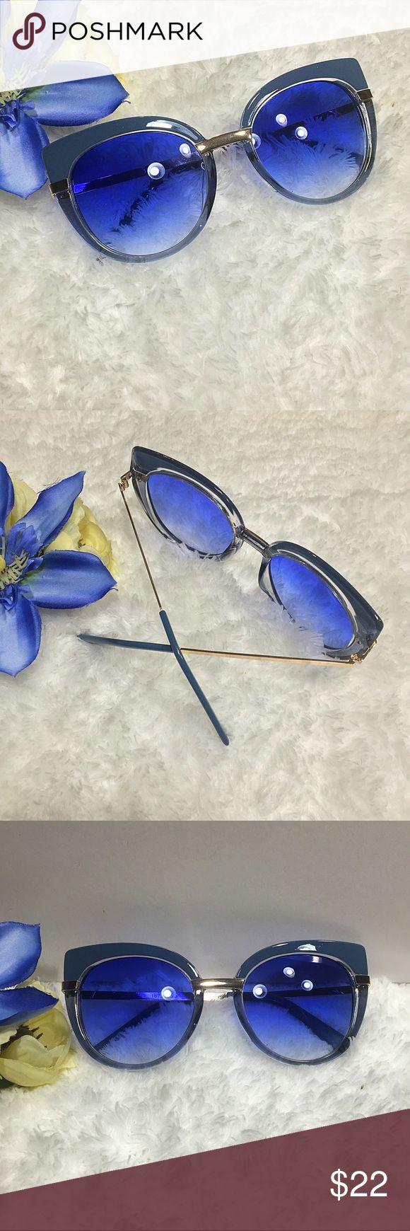 """""""Oh Kitty"""" Nuvem de tempestade azul e moldura clara com lente azul defumada ⭐️⭐️ …   – Gafas de sol"""