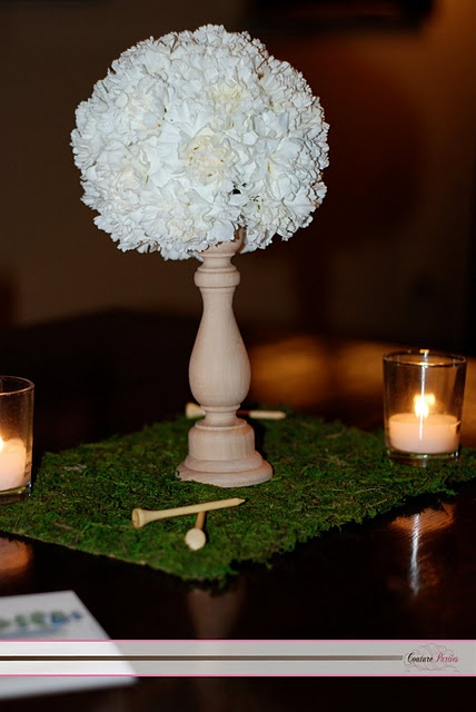 """Golf Party - flowers in shape of golf ball on """"tee"""""""