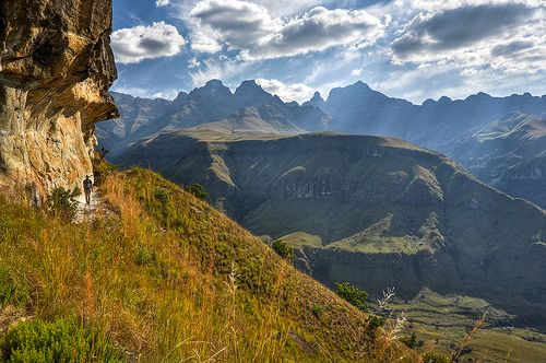 Cathedral Peak area trail Ukhahlamba Drakensberg National Park South Africa