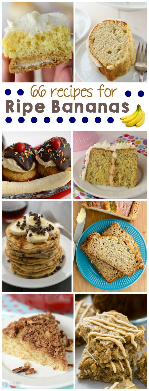 Find a recipe in this list of over 66 recipes using overripe bananas to use up the ones on your counter.