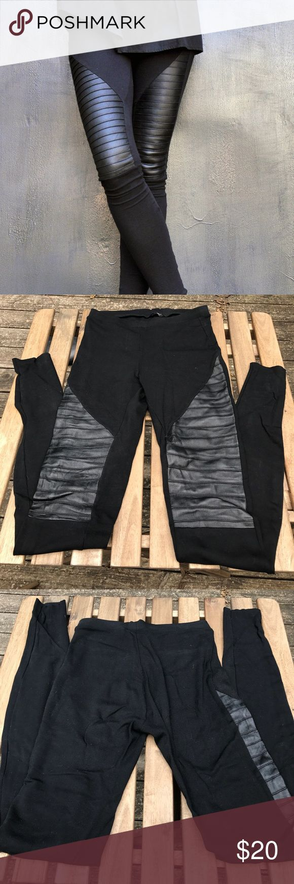 """Leggings with Leather Front By Bulgarian designer Aakasha. This Listing is NOT Allsaints, using only for exposure. Soft viscose leggings with real leather panels. Inseam 32"""", waist 13"""" and there's stretch. Fits size 4-6. Very flattering. Worn just once. All Saints Pants Leggings"""