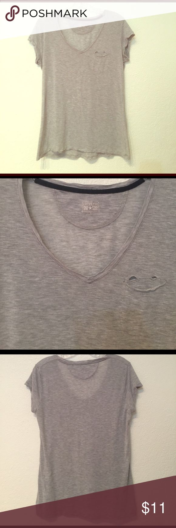 Converse One Star light gray paper t-shirt Converse One Star light gray paper v neck  t-shirt. Condition: Excellent. Like new. Materials: 100% lyocell. Note: We offer a 30% discount on bundles of 3+ items in our closet! Converse Tops Tees - Short Sleeve
